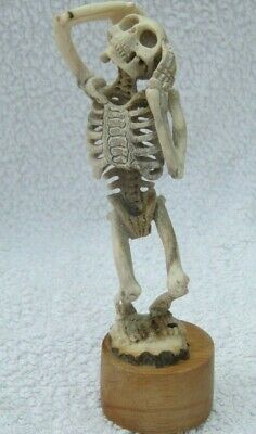 Unusual Japanese Style Carved Skeleton Okimono In Stag Bone Antler Momento Mori
