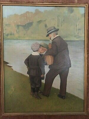 Late 19th century original oil on canvas, antique naive folk art, signed VJC