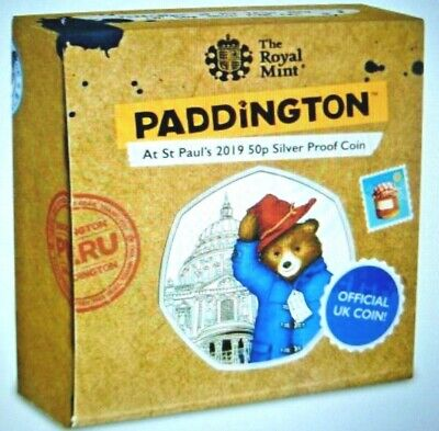 2019 PADDINGTON BEAR AT St PAULS-ROYAL MINT-SILVER PROOF 50P COIN-PRE ORDER