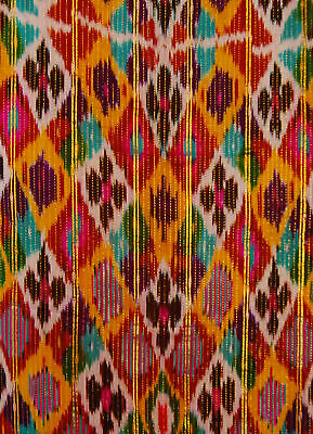 UZBEK COLORFUL BEAUTIFUL HANDMADE NATURAL SILK IKAT A10073