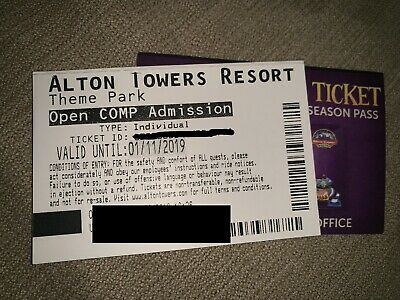 X2 Alton Towers tickets Valid ANY DAY Until 1st November 2019