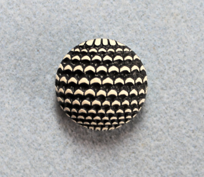 VINTAGE BUFFED CELLULOID BUTTON 24mm/0.94 inch  Black & White