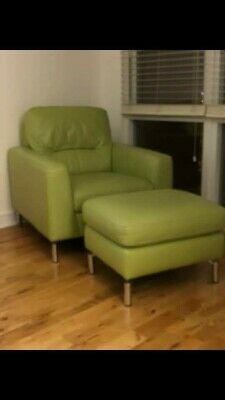Arrmchair and Matching Footstool Italian Leather Large Apple Green with Chrome