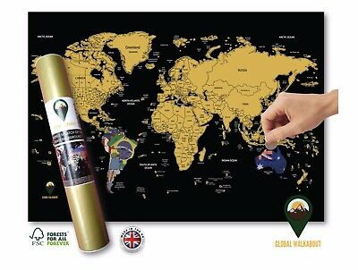 Global Walkabout A3 Travel Size World Scratch Off Map - Black With Flags