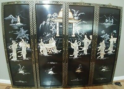 """Vintage Chinese Wall Art four Panels 12""""x36"""" Black Lacquer Mother of Pearl"""