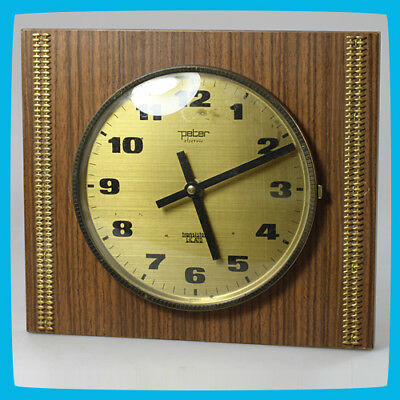 vintage PETER Transistor Lic.Ato Germany Electronic Wall Hanging Wooden Clock