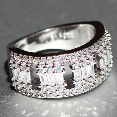 925 Silver Filled White Sapphire Birthstone Engagement Wedding Band Rings size 6
