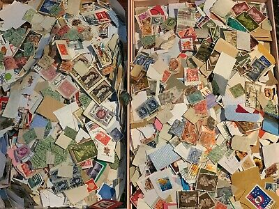 8000+ Stamps Joblot of GB and World stamps on/off paper aprrox 8000pcs