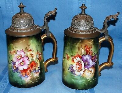 Two Porcelain Handpainted Austrian Steins