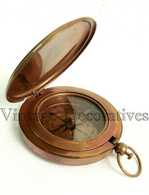 Solid Brass Compass Antique Push Button Marine Compass Working Victorian Style