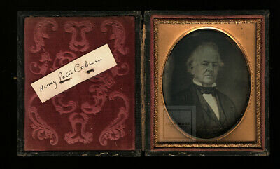 rare antique 1800s daguerreotype photo of henry coburn - indiana history