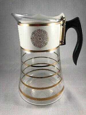 Mid Century Modern Coffee Carafe, Gold Bands, David Douglas