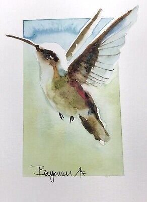 "Original Nova Scotia Watercolor Art, ""Hummer III"", Not A print!"