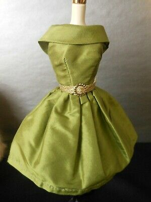 Green Silk Dress with Gold Belt for Barbie, Silkstone, Poppy Parker or Similar.
