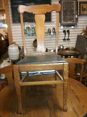 Antique Arts & Crafts Round Oak Dining Kitchen Table Chairs Set O 5 Quartersawn