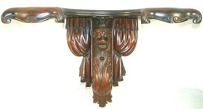 Antique 19th C Victorian Gothic Revival Carved Wood Lion Head Drapes Wall Shelf