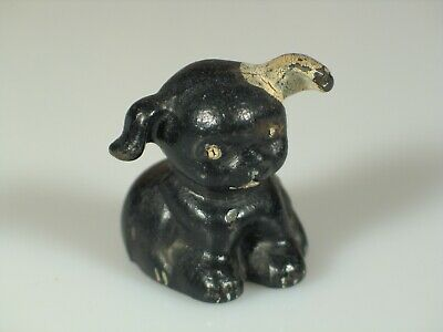 Vintage Black Enameled Cast Iron Pup White Ear Tail Hubley? Unmarked 18397