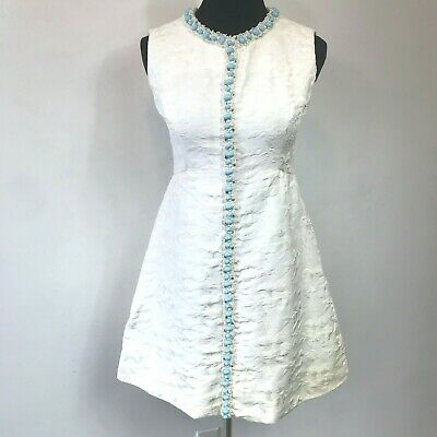 Vintage Saks Fifth Avenue Off White Turquoise Beads size S Mod Shift Dress DS14