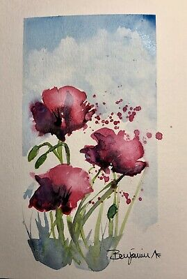 "Original Nova Scotia Watercolor Art, ""Poppies III"",  Not A print!"