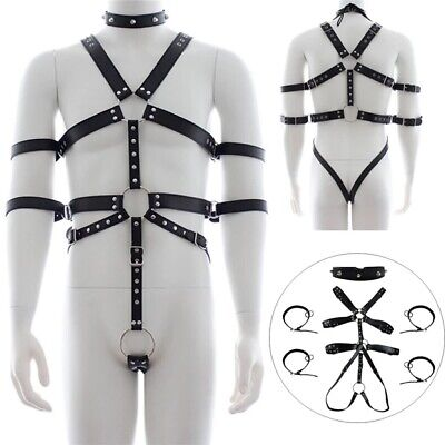 Sexy Male Faux Leather Strap Chest Belt Body Harness Chastity Pants Gay Custome