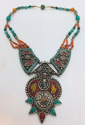 Antique Tibetan Tribal Sterling Silver Turquoise & Coral Hand Made Necklace