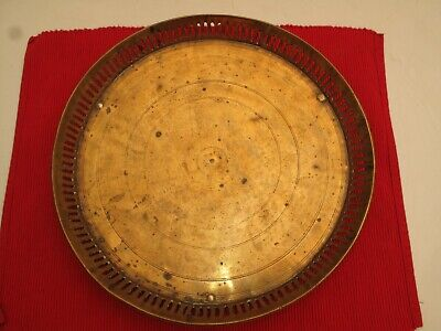 Vtg Antique Chinese Oriental Brass Tray Round 19Th C Peened Feet