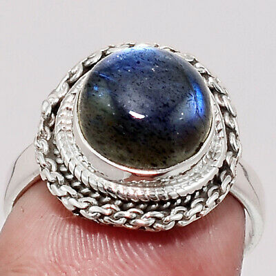 Handcrafted - Blue Labradorite 925 Sterling Silver Ring Jewelry s.7.5 SDR53254