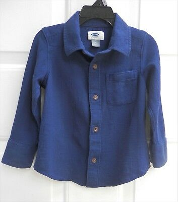 Old Navy Baby Boy Cotton Blue Thermal Waffle Button Down Dress Collar Shirt  2T