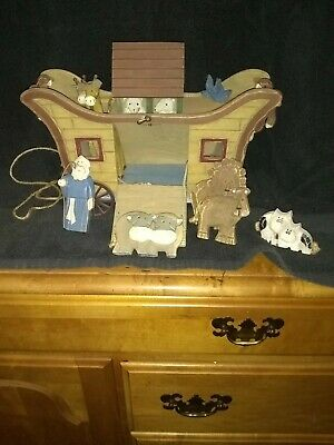 """Vintage wood Noah ark pull toy, 15lx7""""h includes animals and Noah"""