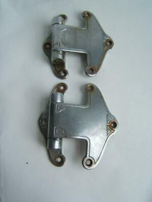 2 Vintage Fancy Silver Tone Hinges One Is Bent A Bit