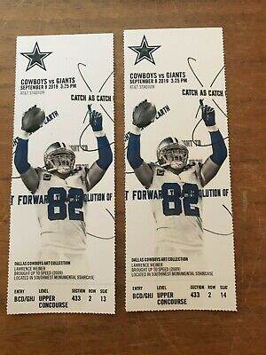 2 Dallas Cowboys vs New York Giants Tickets 9/8/19