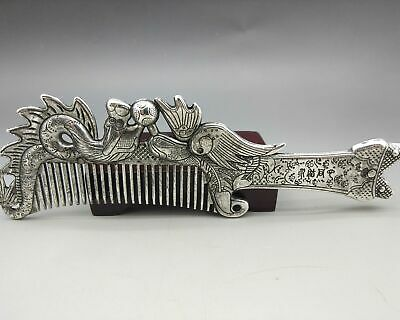 Old Collectibles Decorated Handwork Miao Silver Carving Elegant Comb   Z345