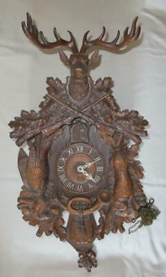 1935 Lux Cuckoo Clock Large 12 pt Deer, Rabbit, Bird, Guns Black Forest Style