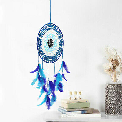 "22"" Blue Large Handmade Feather Dream Catcher Car Wall Hanging Ornament Craft"