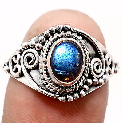 Handcrafted - Blue Labradorite 925 Sterling Silver Ring Jewelry s.7.5 SDR55786