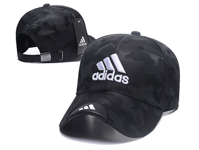 Embroidered Adidas 3 Stripes Adjustable Strapback Baseball Cap Black Camo #3