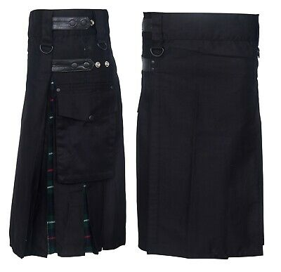 Men's Hybrid Leather Straps, Cotton & Tartan Utility Kilt - Mackenzie