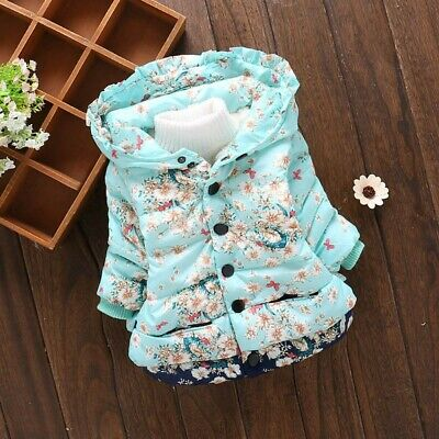 Toddler Kids Baby Girl Winter Warm Coat Flower Hooded Outerwear Jacket Clothes