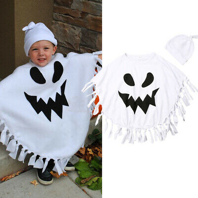 AU Baby Boy Toddler Kid Halloween Ghost Costume Cloak Robe Hat Fancy Party Dress
