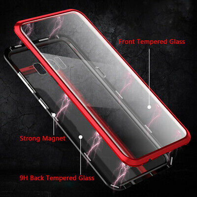 For Samsung Galaxy S8 S9 Plus Note 9 Magnetic Double side Tempered Glass Case