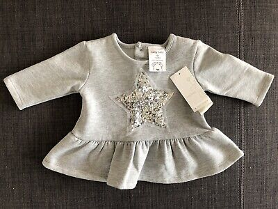BNWT Baby Girl Size 00 (3 - 6 months) Grey w Silver Sequin Star Jumper Sweater