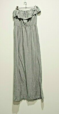 Grey strapless stretch maxi dress with frill - size 10
