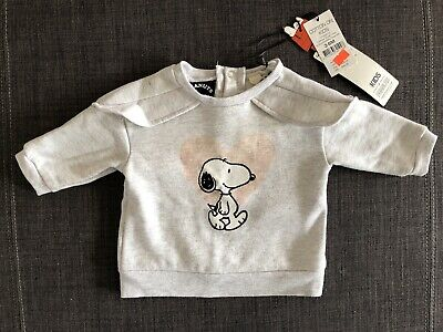 BNWT Baby Girl Grey Snoopy/Peanuts Jumper Sweater Size 00 3 - 6 Months