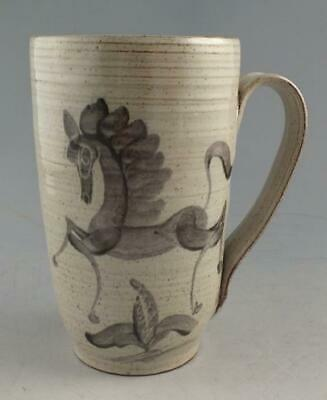 Vintage Studio Pottery Mug By Edwin & Mary Scheier With Horse Decoration