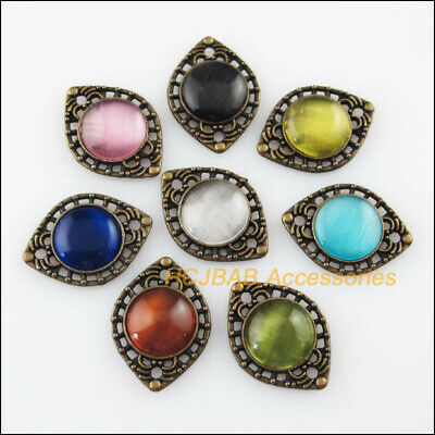 8Pcs Mixed Cat Eye Stone Oval Antiqued Bronze Charms Connector Pendant 14.5x20mm