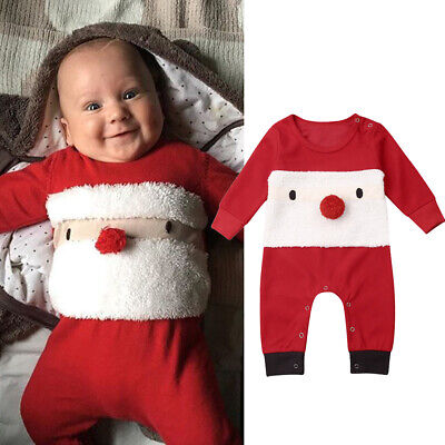 Newborn Infant Baby Girl Xmas Jumpsuit Romper Bodysuit Christmas Outfits Clothes