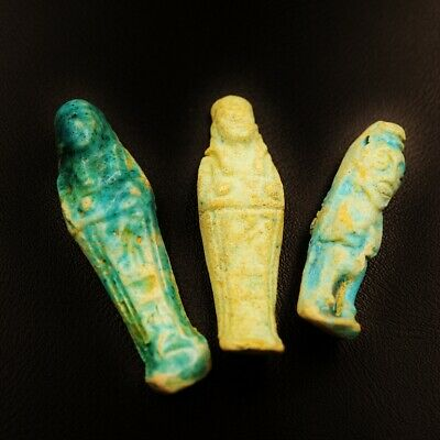 Set of 3 Ancient Egyptian Faience Ushabti (Shabti) Figures