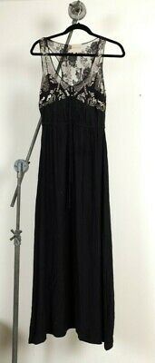 FLEUR WOOD black silk maxi dress with lace beaded detail - size 2 / 10