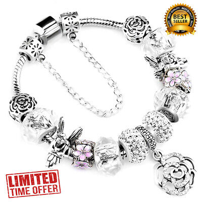 """Authentic Pandora 925 SILVER FASHION BRACELET WITH """"Love Story"""" EUROPEAN CHARMS"""