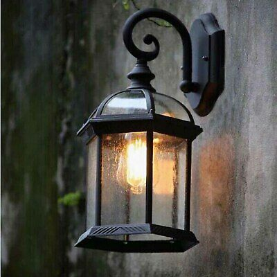 Vintage Industrial Glass Black Metal Lantern Arm Outdoor Wall Lights Sconces